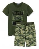 450 Комплект мужской (футболка, шорты) р.44 хаки/камуфляж