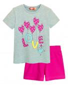 91107 Комплект для девочки (футболка-шорты) р.98-56 серый меланж/т.розовый