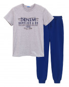 451 Комплект мужской (футболка, брюки) р.44 серый меланж/ т.синий