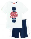 4256 Комплект для мальчика (футболка-шорты)р.134-68 белый/т.джинс