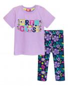 4157 Комплект для девочки (футболка-бриджи) р.74(48) сирень / т.синий/сирень