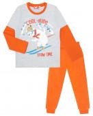 9257 Пижама для мальчика р.92-52 с.серый меланж/т.оранжевый