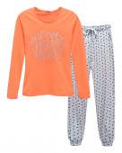 4326 Комплект женский (джемпер, брюки) р.42 коралл / серый меланж