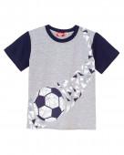 52219 Футболка для мальчика р. 92-52 серый меланж/т.синий