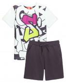 4253 Комплект для мальчика (футболка-шорты)р.92-52 белый/серый