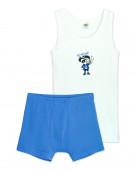 3284 Комплект для мальчика (майка, трусы-боксеры) р.86-52 белый / синий