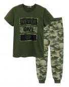 451 Комплект мужской (футболка, брюки) р.44 хаки/камуфляж