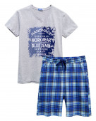 454 Комплект мужской (футболка, шорты) р.44 серый меланж / т.синий