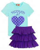 4155 Комплект для девочки (футболка-юбка) р.92-52 мятный/фиолетовый