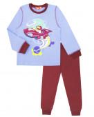 9254 Пижама для мальчика р.98-56 н.голубой/бордовый