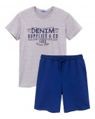 450 Комплект мужской (футболка, шорты) р.44 серый меланж/ т.синий