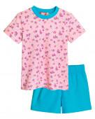 91110 Комплект для девочки (футболка-шорты) р.92-52 св.розовый/бирюзовый