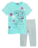 4156 Комплект для девочки (футболка-бриджи) р.92-52 мятный/серый меланж