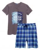 454 Комплект мужской (футболка, шорты) р.44 т.серый / т.синий