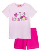 91106 Комплект для девочки (футболка-шорты) р.98-56 св.лиловый/т.розовый